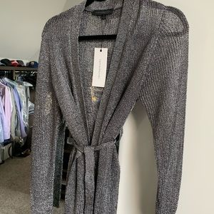 Dance and Marvel metallic silver wrap sweater